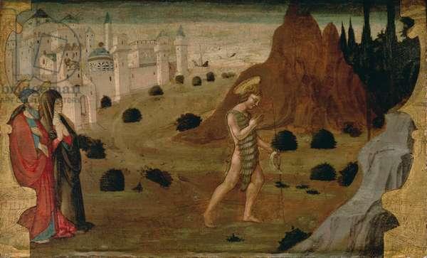 St. John the Baptist Leaving for the Desert (tempera on panel)