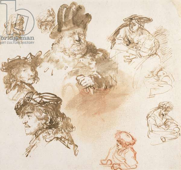 Studies of Old Men's Heads and Three Women with Children, c.1635-36 (ink & wash on paper)