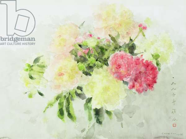 Pink and Yellow Flowers, 1996 (w/c on rice paper)
