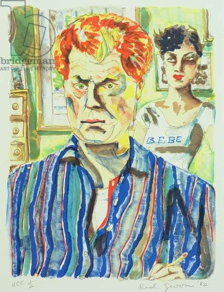 Self Portrait with Liz, 1982 (colour litho)