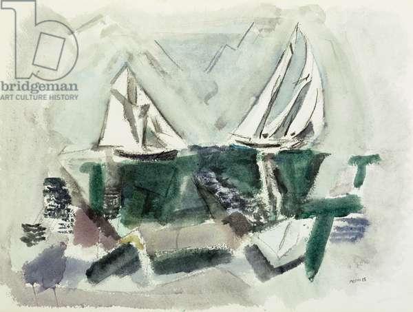 Schooner Yachts, Dear Isle, Maine, 1928 (w/c on paper)