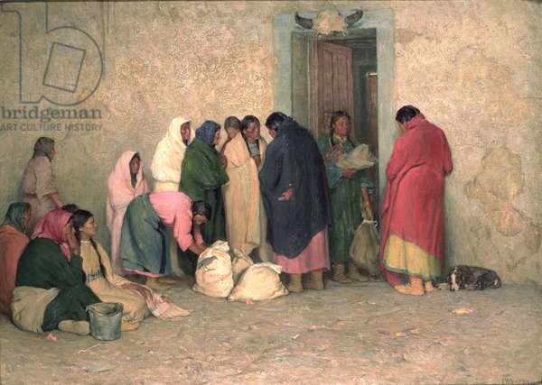 Ration Day at the Reservation, 1919 (oil on canvas)