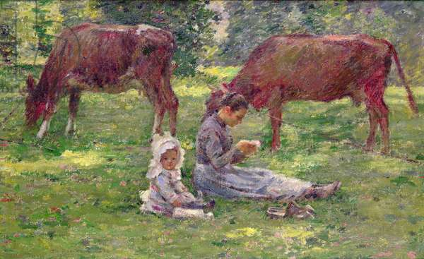 Watching the Cows (oil on canvas)