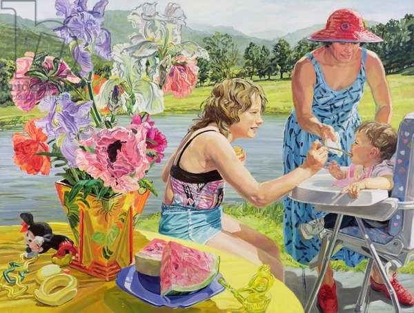 Feeding Caitlin, 1988 (oil on canvas)