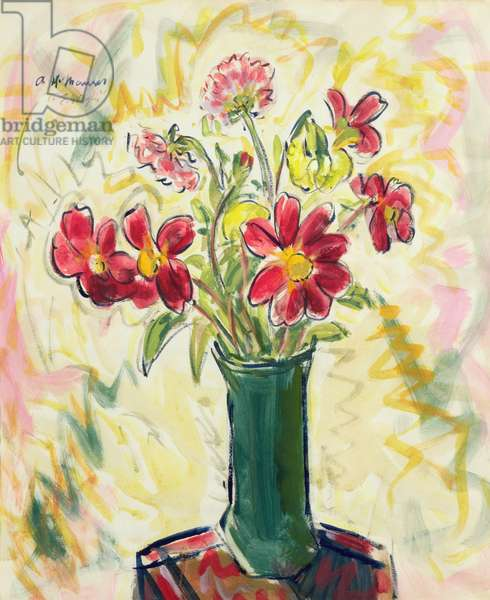Flowers in a Green Vase, 1928 (oil on paper)