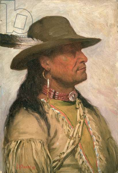 Ogalalla Sioux 'Indian Scout' Sioux (oil on canvas)