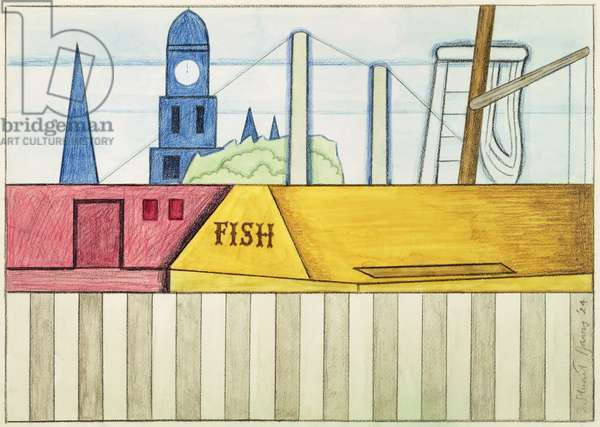 Gloucester Harbor, 1924 (w/c & crayon on paper)