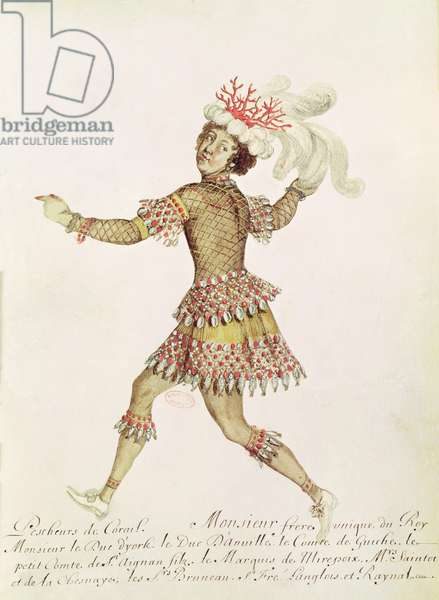 Costume design for a coral fisher for 'The Marriage of Thetis and Peleus' by Francesco Cavalli (1602-76) 1654 (w/c on vellum)