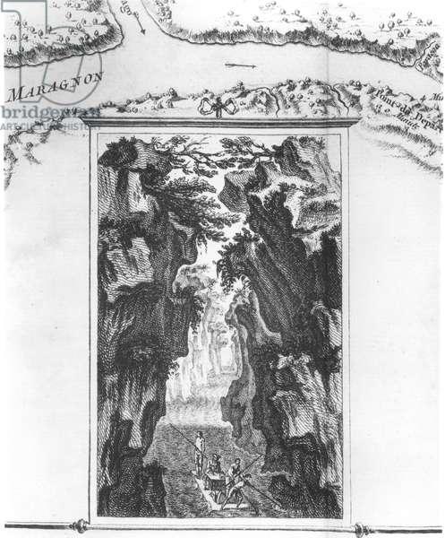 Cartouche depicting La Condamine on a raft on the Amazon, on a map called 'Carte du detroit appele Pongo de Manseriche dans le Maragnon ou la riviere des Amazones', illustration from 'Histoire de l'Academie royale des sciences', 1745 with 'Les memoires de mathematique et de physique', Paris, Imprimerie royale , 1749' by Charles Marie de La Condamine (1701-74), 1749 (engraving) (b/w photo)