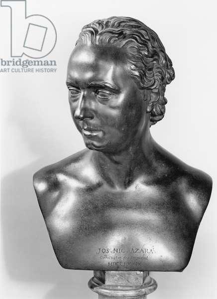 Bust of Jose Nicolas de Azara (1731-1805) 1773 (bronze) (b/w photo)