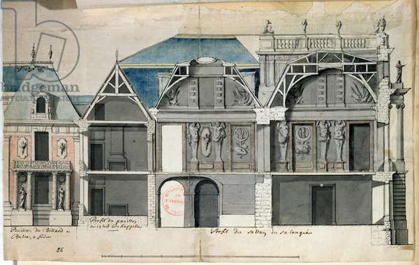 Ms 1307/36 Cross-section of a wing of the Chateau de Versailles constructed by Louis Le Vau (1612-70) (w/c on paper)