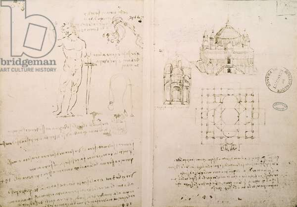 Sketch of a church similar to St. Sepolcro in Milan, fol. 4r from Codex Ashburnham I and II (formerly part of Ms B (2184) and Ms A), c.1492 (pen & ink on paper)