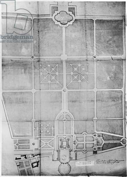 Plan of the first works at Versailles (pencil on paper)