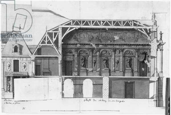 Ms 1307/36 South-north cross-section of the Grand Salon and the Salle de Diane of the Chateau de Versailles constructed by Louis Le Vau (1612-70) (w/c on paper) (b/w photo)