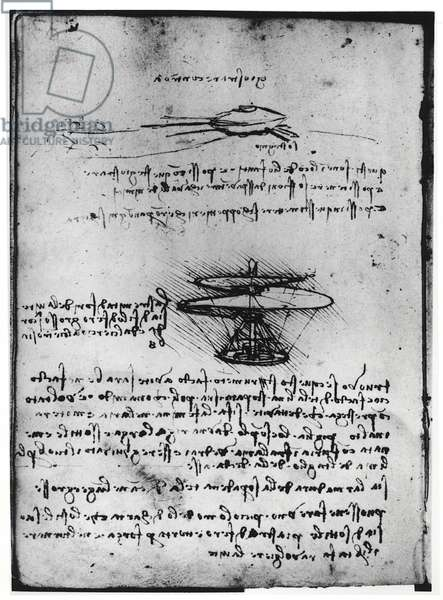 Paris Manuscript B, fol. 83v: Page of text and sketches for a flying machine, 1488-90 (pen and ink on paper)