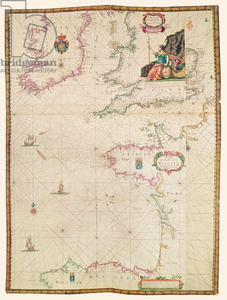 The coasts of France, England and Ireland, from 'Collection of Dutch Marine Maps' (engraving)