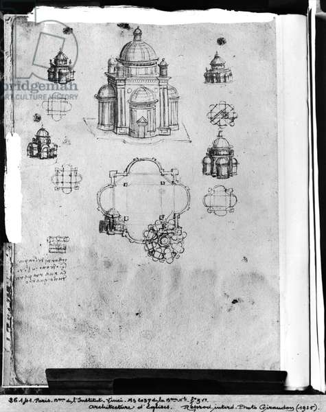 Designs for a centrally planned church, fol. 3v from Codex Ashburnham I and II (formerly part of Manuscript B (2184)), c.1492 (pen & ink on paper)