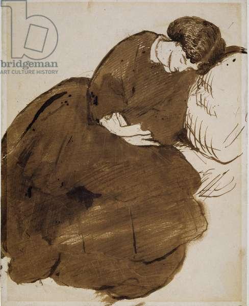 Jane Morris (1839-1914) (pen, ink & wash on paper)