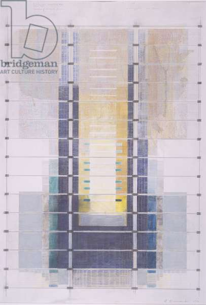 Design for a stained glass window, International Convention centre, Birmingham, 1990 (chalk & bodycolour over pencil)