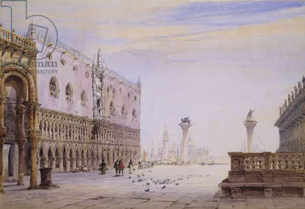 The Piazzetta, Venice, 1877 (w/c on paper)