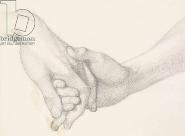 Dante's Dream at the Time of the Death of Beatrice - Study of Dante holding the Hand of Love (pencil on paper)