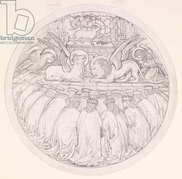 The Worship of the Lamb, design for a stained glass window at St Edmund Hall, Oxford, 1865 (pencil on paper)