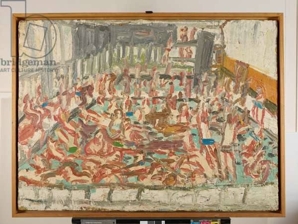 Children's Swimming Pool, Friday Evening, 1970 (oil on canvas)