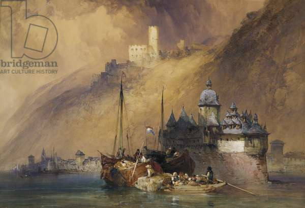 The Rheinland Pfalz with Kaub and the Castle, 1847 (w/c & gouache on paper)