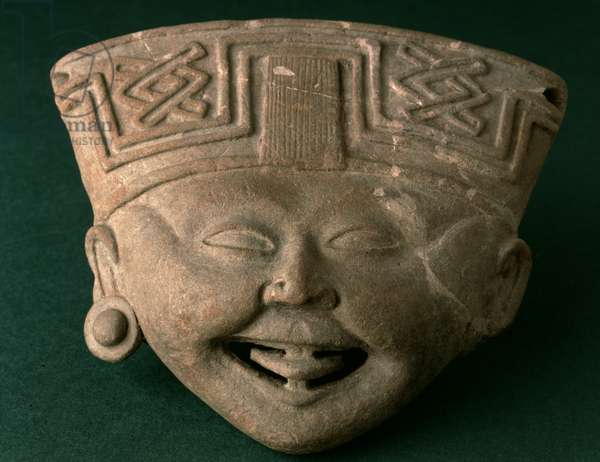 Laughing Head, Totonac, AD 500-900 (terracotta)