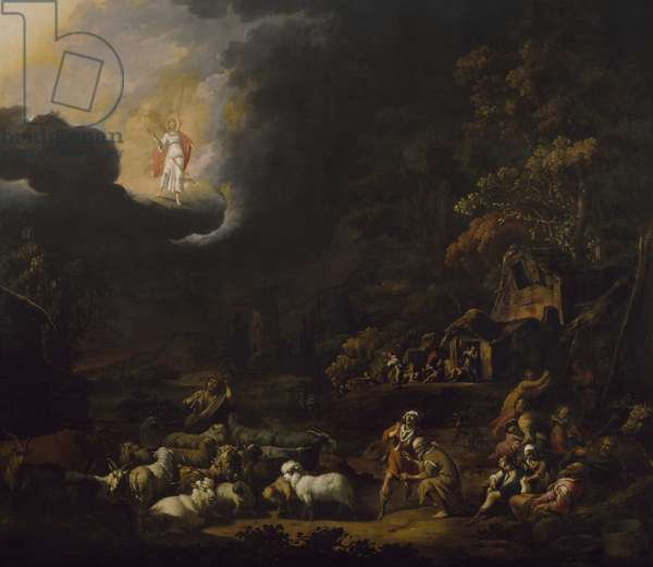 The Angel Appearing to the Shepherds (oil on canvas)