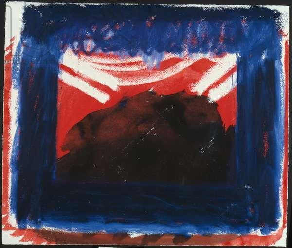 A Storm, 1977 (gouache on paper)