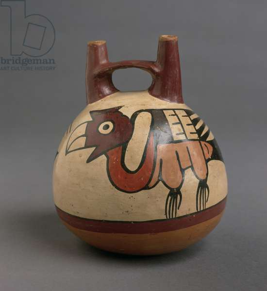 Bottle painted with condors, Nasca People, 250 BC-AD 125 (earthenware)