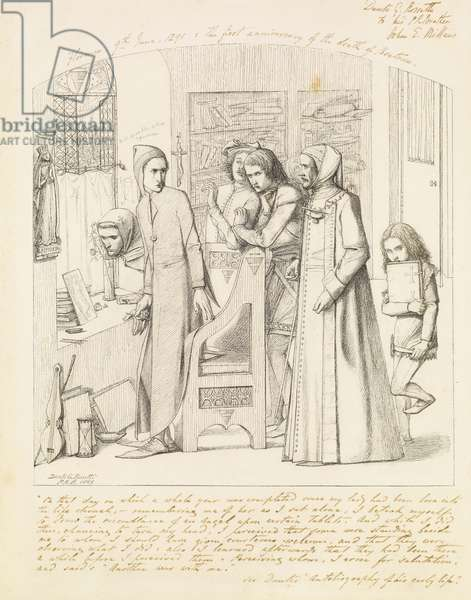 Dante Drawing an Angel on the First Anniversary of the Death of Beatrice, 1848-9 (pen and black ink on paper)