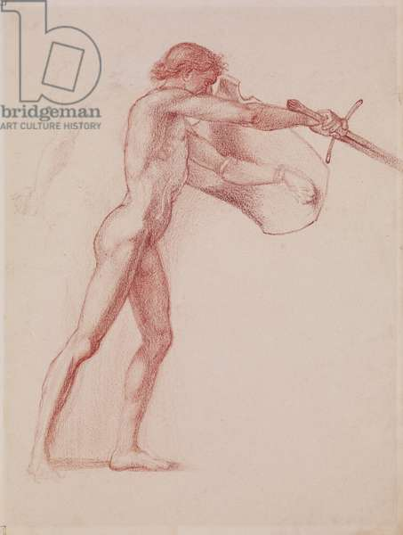 Study of a male nude, for St George Slaying the Dragon (red chalk on paper)