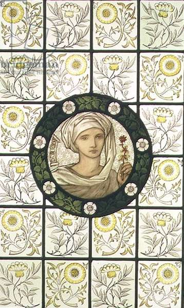 Dorigen, roundel designed by Edward Burne-Jones (1833-98) and set in background of floral quarries manufactured by Morris & Co., c.1876 (painted stained glass)