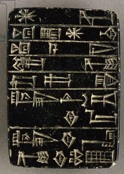 Foundation plaque of Shulgi, 2094-47 BC (incised black basalt)