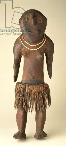 Ancestor figure, mid-19th century (wood with grass skirt & bone necklace)