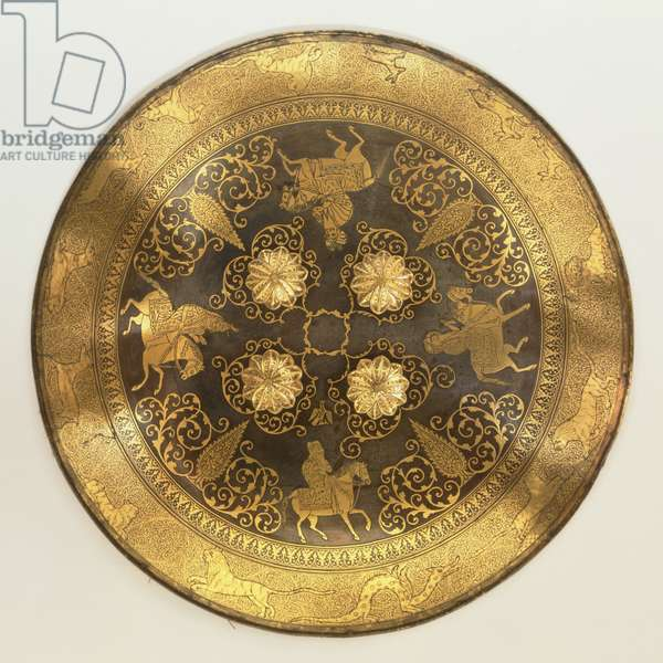 Shield, c.1830 (blued steel, overlaid with gold, velvet & quilted cotton)