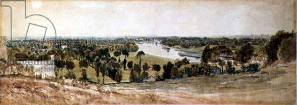 View of the Thames from Richmond Hill (w/c on paper)