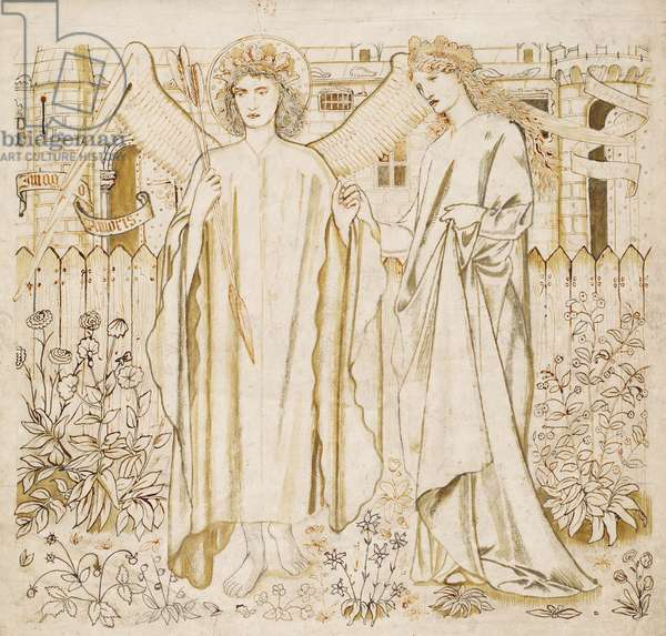 Amor and Alceste, a design for stained glass or embroidery, 1864 (sepia & ink on paper)