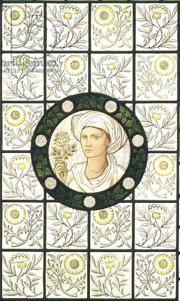 Constance, roundel designed by Edward Burne-Jones (1833-98) and set in a background of floral quarries manufactured by Morris & Co. (painted stained glass)