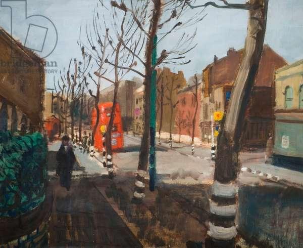 A London Street, 1944-45 (oil on panel)