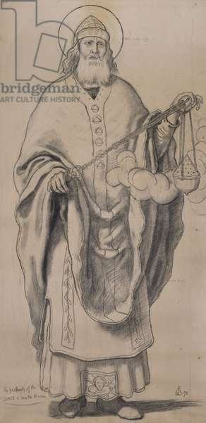 Zachariah, cartoon for stained glass at Knaresborough, 1872 (black chalk on paper)