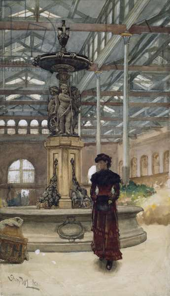 Old Market Hall and Fountain, Birmingham, 1880 (w/c on paper)