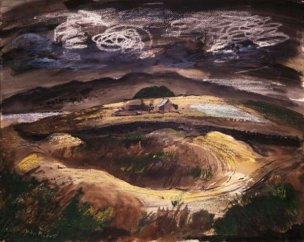 Roman Amphitheatre of Tomen-Y-Mur, Ffestiniog, Wales, 1943 (w/c, bodycolour, indian ink and wax crayon)