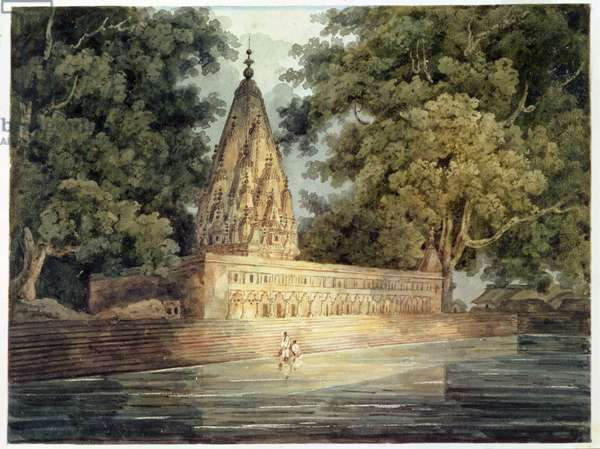 Hindu Temple near Benares (w/c & ink with gum arabic on paper)