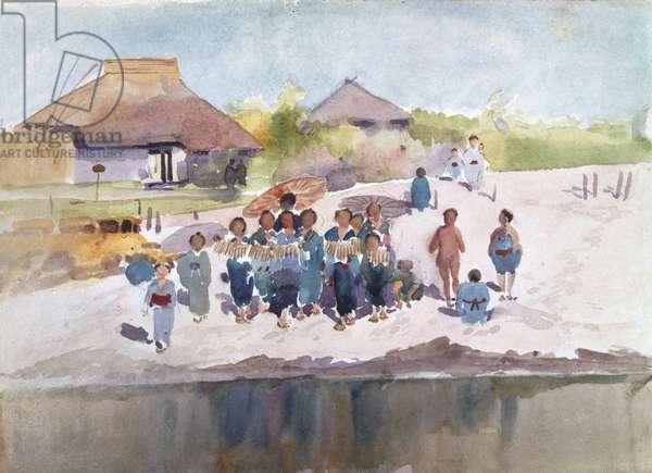 Village Scene, Japan, 1889 (w/c over pencil on paper)
