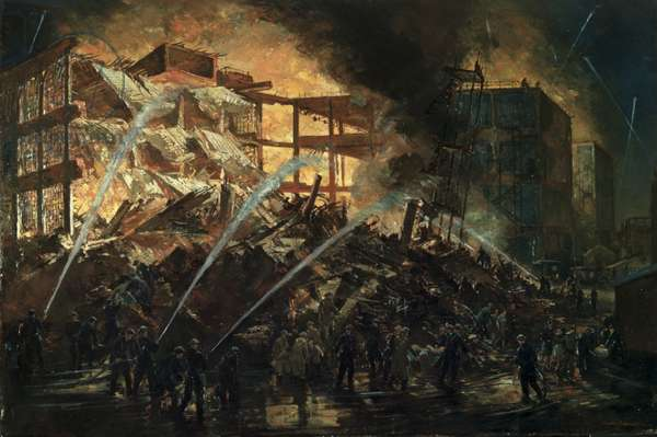 Destruction of the New Building, BSA Factory, Small Heath, on the Night of the 19/20 November 1940 (oil on canvas)
