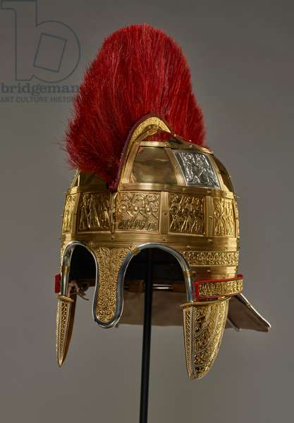 Reconstruction of helmet elements from the Staffordshire Hoard (gold & silver)