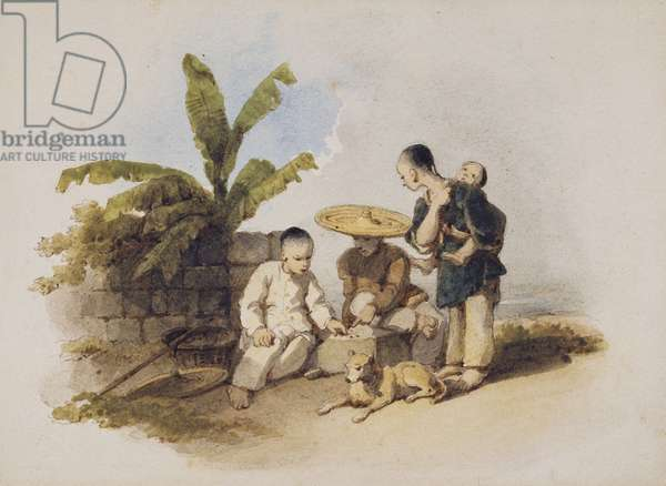 Chinese Scene with Seated Figures Playing a Game, 1825 (w/c on paper)